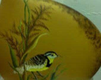 Eastern Meadowlark Unique Kidney-Shaped Vase