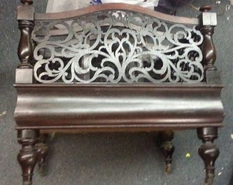Antique Old Mahogany Furniture Canterbury Library Magazine Book Rack Stand