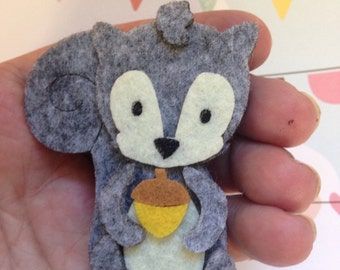 Felt squirrel brooch