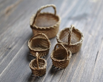 1:12th Scale Dollshouse Miniature Round Handled Shopping Baskets - 5 sizes to choose from