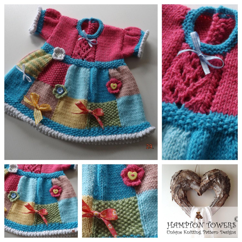 PDF LARGE PRINT Baby Knitting Patterns Patchwork Judy baby