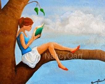 Woman reading, Book artwork, girl in tree, girl reading artwork, Original painting by Nancy Quiaoit