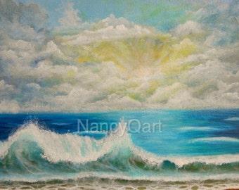 Beach art, ocean waves, seascape art, ocean artwork, sunrise ocean art, sunset, Original ocean painting by Nancy Quiaoit at NancyQart.