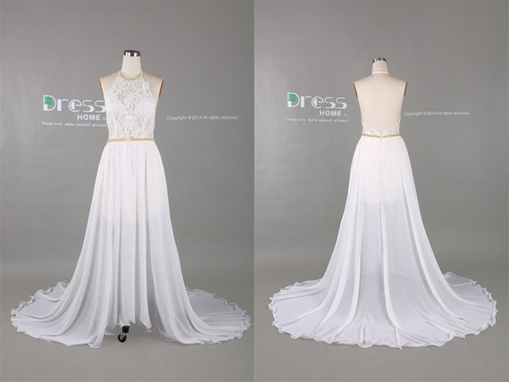 White Halter Beading Belt Lace Prom Dress/Simple By DressHome