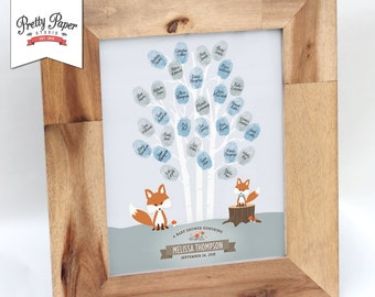 Thumbprint Tree Guestbook - Woodland Baby Shower // Boy // Fox Baby Shower Decor // Printable BS01