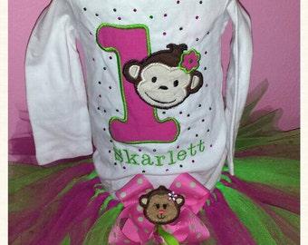 Monkey birthday tutu set