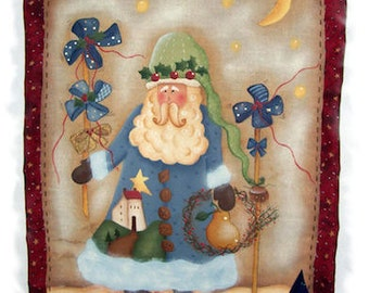 Pinwheels Santa painted by Laura Moreni for Painting with Friends. E-Pattern