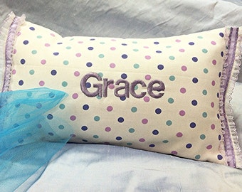 Girls Name Pillow, Personalized Name Pillow, Embroidered Pillow, Travel Pillow, Kids Nap Pillow, Purple Pillow, Personalized Girls Gift