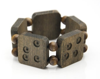 """Wooden bracelet. 2-in-1 Reversible. Reclaimed wood. Recycled. Eco friendly. Wood jewelry. Elastic bracelet. Stretch. Size: 6 1/8"""" (15.5 cm)"""