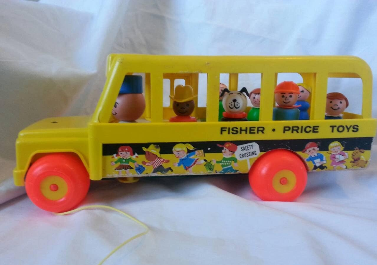 fisher price school bus 1965 vintage toy with little people. Black Bedroom Furniture Sets. Home Design Ideas