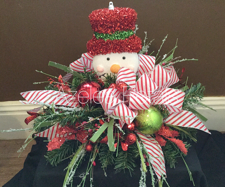 Floral Snowman Centerpiece : Ready to ship snowman candy cane centerpiece by azeleapetals