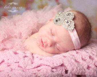 Light Pink, Rhinestone Baby Headband Perfect for Photo Prop, Christenings, Weddings or Special  Occasions.COMES In Other COLORS as Well