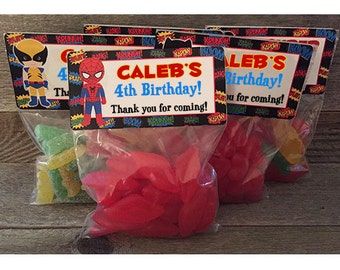 Superhero Treat Bags, Spiderman Treat Bags, Superman Treat Bags, Batman Small Treat Bags, Super Hero Sticker and Bags, Superhero Party Favor
