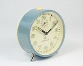 RARE Vintage 1970s MERA POLTIK Alarm Clock, Poland mechanical old clock, Working mid century clock, blue retro Desk clock