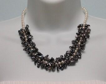 VNK19 Set Handcrafted genuine pearl jewelry art design necklace & bracelet