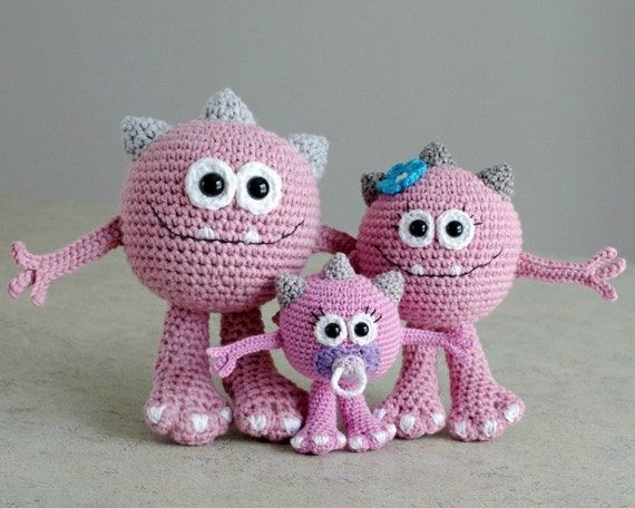 Amigurumi Cookie Monster Pattern : PATTERN Huggy Monster crochet amigurumi in English