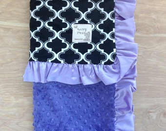 Black and White Cabanna with Purple Baby Blanket