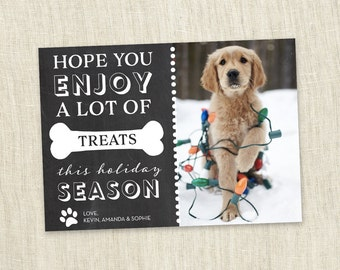 pet holiday card puppy kitty dog cat animal christmas holiday card treats customizable - Pet Holiday Cards