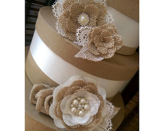 Rustic Burlap And Lace Cake Flowers With Vintage Inspired Brooches & Jewels - Set of 5, Burlap Lace Cake Topper