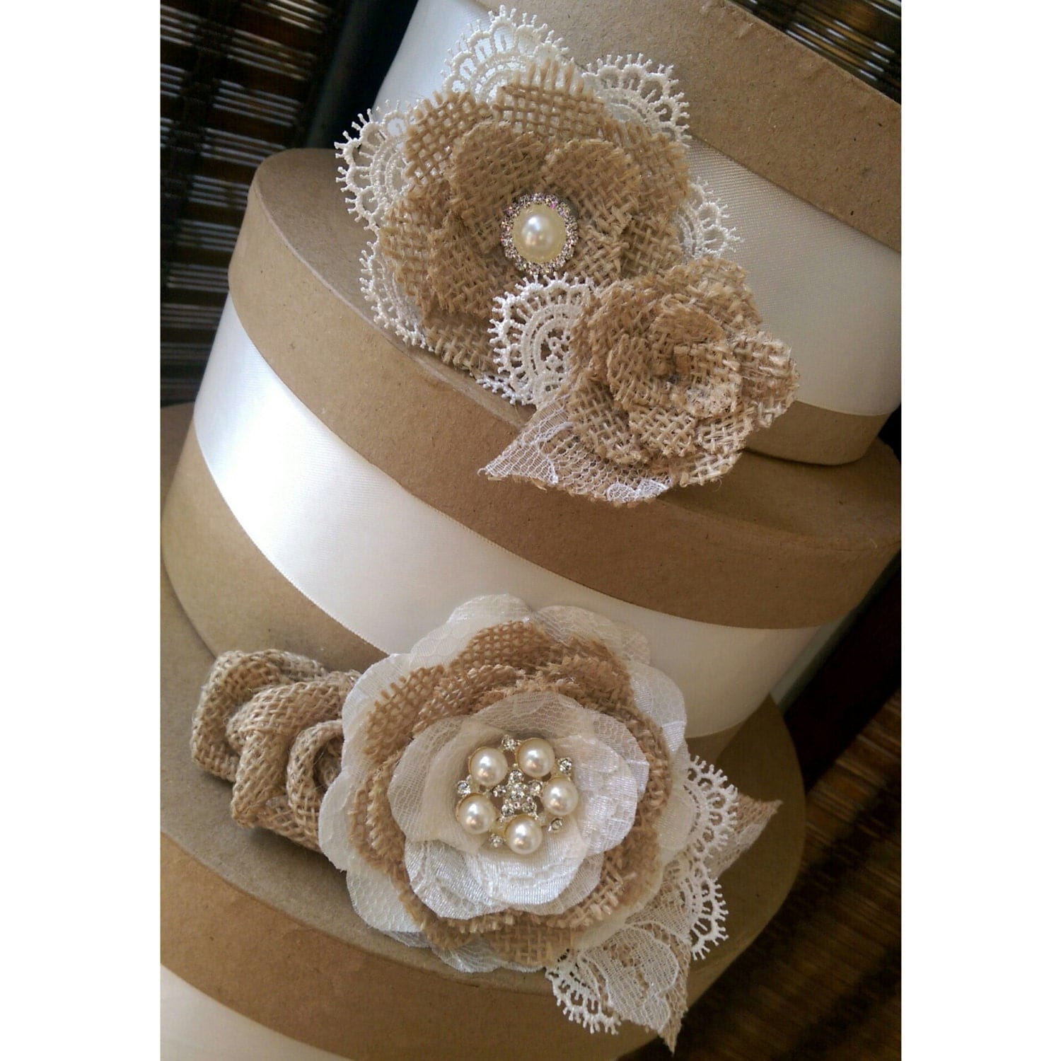 Rustic Burlap And Lace Cake Flowers With Vintage Inspired