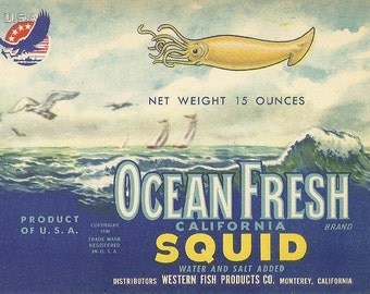 Ocean Fresh Brand California Squid Vintage Tin Can Label Western Fish Products Co. Monterey, California