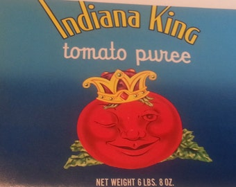 Unused Original Vintage Indiana King Tomato Puree Tin Can Label Hobbs, Indiana