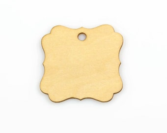 WOOD SWING TAG (Set of 5) - Fluted Plaque Wood Label Gift Swing Tag (5cm x 5cm)