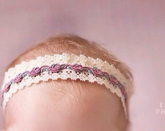 Lace Headband with Delicate Purple Flowers