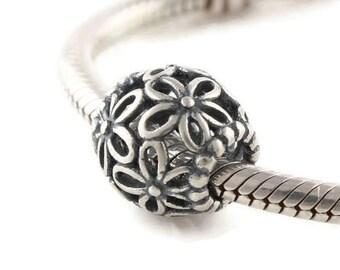 Sterling silver daisies charm bead - european charm