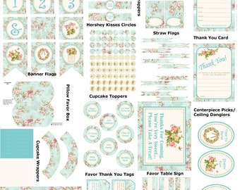 Turquoise Shabby Chic Birthday, Printable Shabby Party Supplies, DIY Floral Birthday Printable, DIY Vintage Birthday - By Printables 4 Less