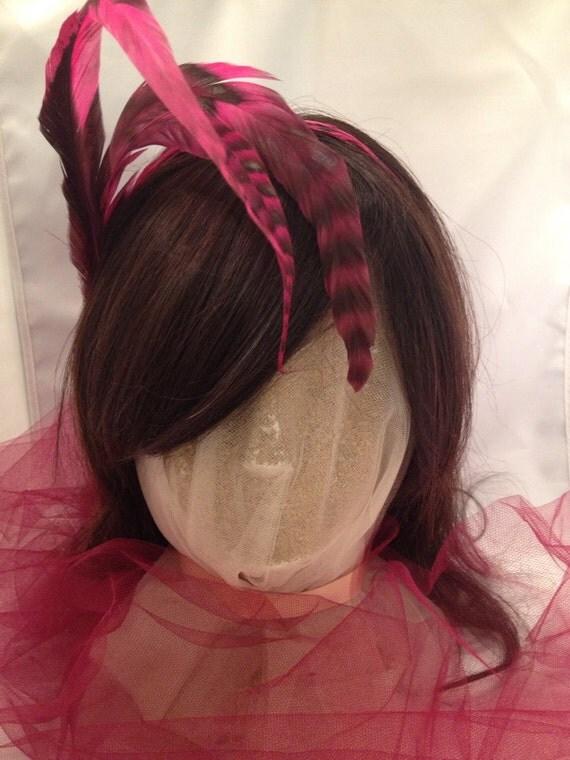 Feather Fascinator, Feather Headpiece, Tiara, Boho Headpiece, Rock n Roll Bride, Feather Headband ,Feather Tiara ,Hair Accessory -