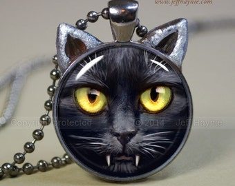 Vampire CAT NECKLACE, Vampire Black Cat pendant // Halloween necklace resin pendant // black cat jewelry // Black Cat Vampire //  SC5