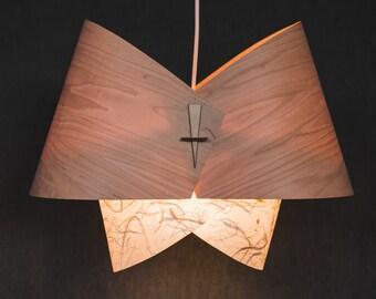 Wood pendant light ceiling light fixture wood lamp shade - Paper light fixtures ...