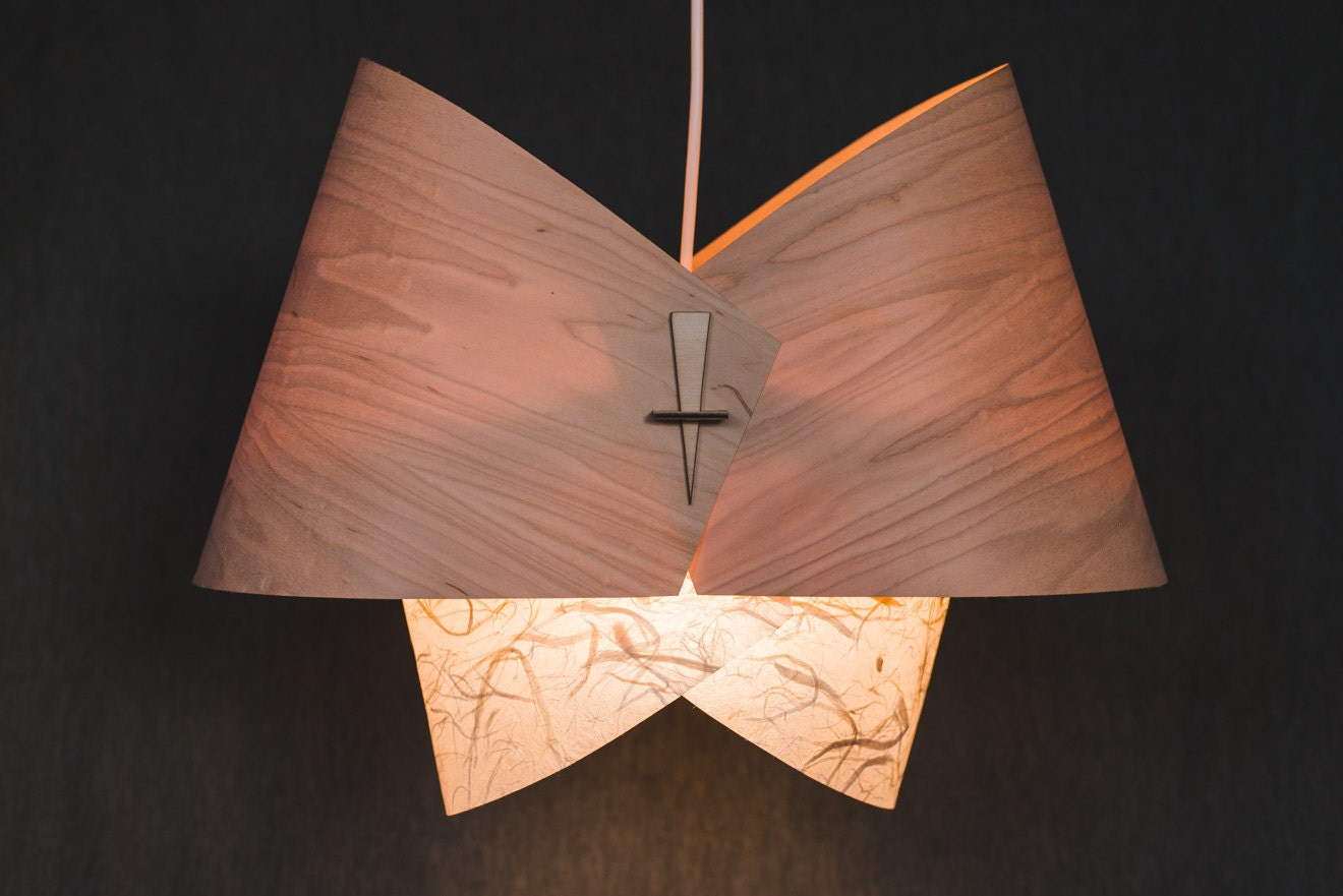Wood pendant light ceiling light fixture wood lamp shade for Ceiling lamp wood