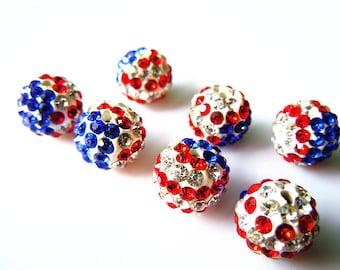 10 pcs Shamballa Bead USA Flag The Old Glory 10mm Crystal Rhinestone Beads Jewelry Supply