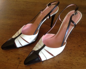 Escada Black and white pointy sling back leather shoes size 39 1/2