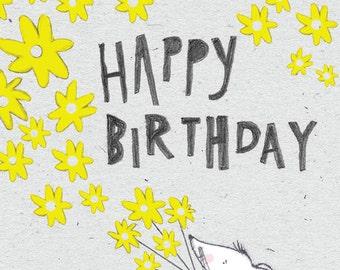 Happy Birthday… A Rosie & Radish 'Loud Mouse' Greeting Card