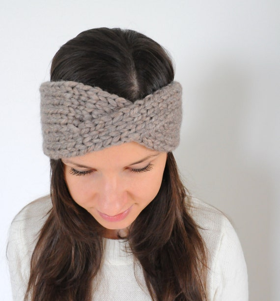 Knitting Pattern For Winter Headband : Items similar to Women Knitted Headband, Winter Earwarmers, Knit twist headba...