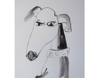 Dog - Petportrait - Original Drawing with China Ink and Bambu-Stick - 11,81 x 8,27 inch free shiping black white