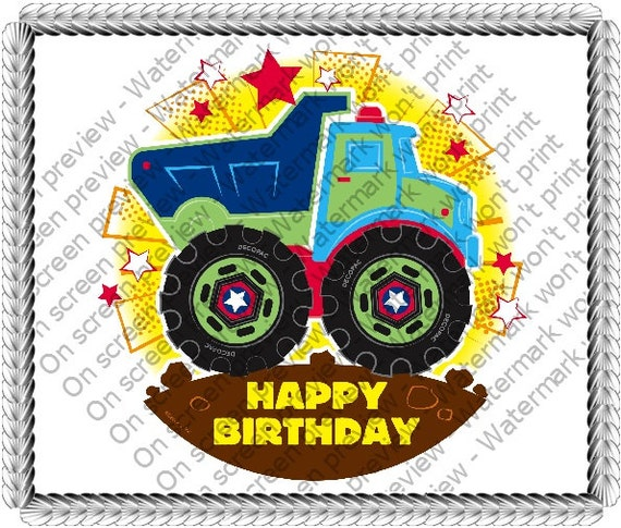 Happy Birthday Truck - Edible Cake and Cupcake Topper For Birthday's and Parties! - D20094