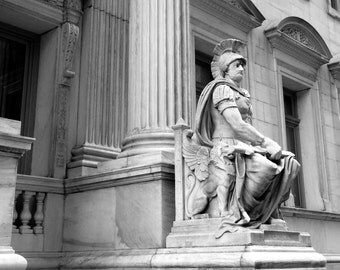 Digital Photography,photographic print,#1460,ARCHITECTURE,black and white,architecture detail,City of New York,wall art, art print,statue