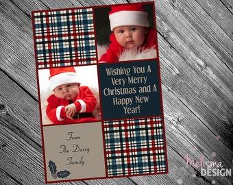 Dark Blue & Red Plaid Photo Christmas Card - PRINTABLE