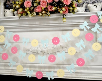 Cute as a button Bows and buttons garland, baby girl shower decorations, welcome  baby shower party decor