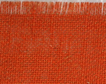 """Orange Glitter Burlap Table topper 47"""" x 47"""" , Great for the Holidays, fringed edges, we have in variety of colors (BFG-T21)"""