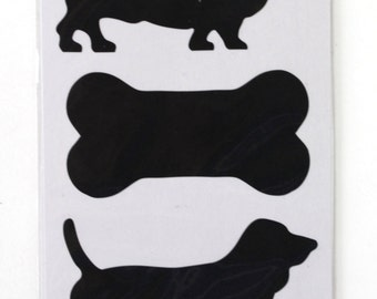 4 sheets of Dog and Bone Chalkboard Label stickers total 16 stickers . Great for primitive packing, decorations, crafts. (CBL7851)