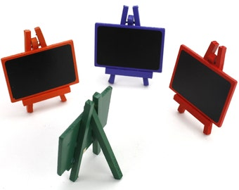 Set of 4 Chalkboard colored mini small easels. Great for events, Catering, rustic country events. (CBS030)