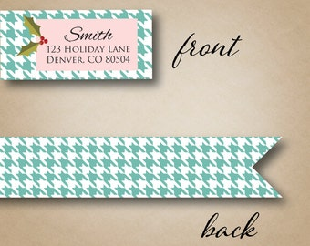 Wraparound Address Label Return Address Labels Christmas Address Label Mint Houndstooth Personalized Holiday Card Holly Berry Envelope Seals