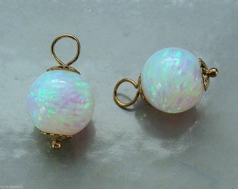 Stunning 10mm Lab Opal INTERCHANGEABLE Earring Charms Earring Jackets YG or SS or Rose Gold