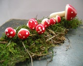 Vintage Swedish mushroom Set of 16 Vintage millinery Craft supplies Craft supplies