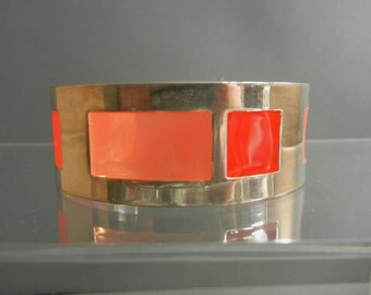 Vintage Sterling Silver Plated Enamel Cuff Bracelet